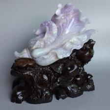 糯冰种紫罗兰白菜摆件