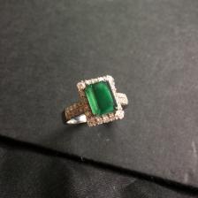 冰种蓝水翡翠镶嵌18K白金钻石戒指