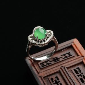 冰种绿晴水镶白金钻石戒指