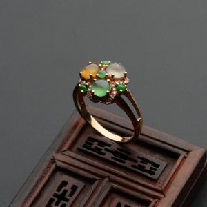 冰种三彩镶玫瑰金钻石花型戒指