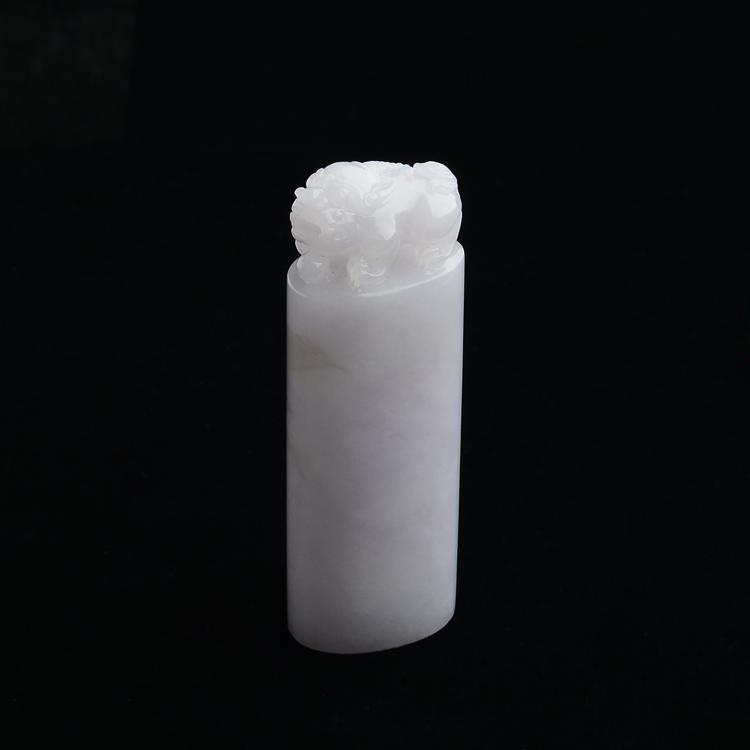 糯冰种淡紫罗兰貔貅印章