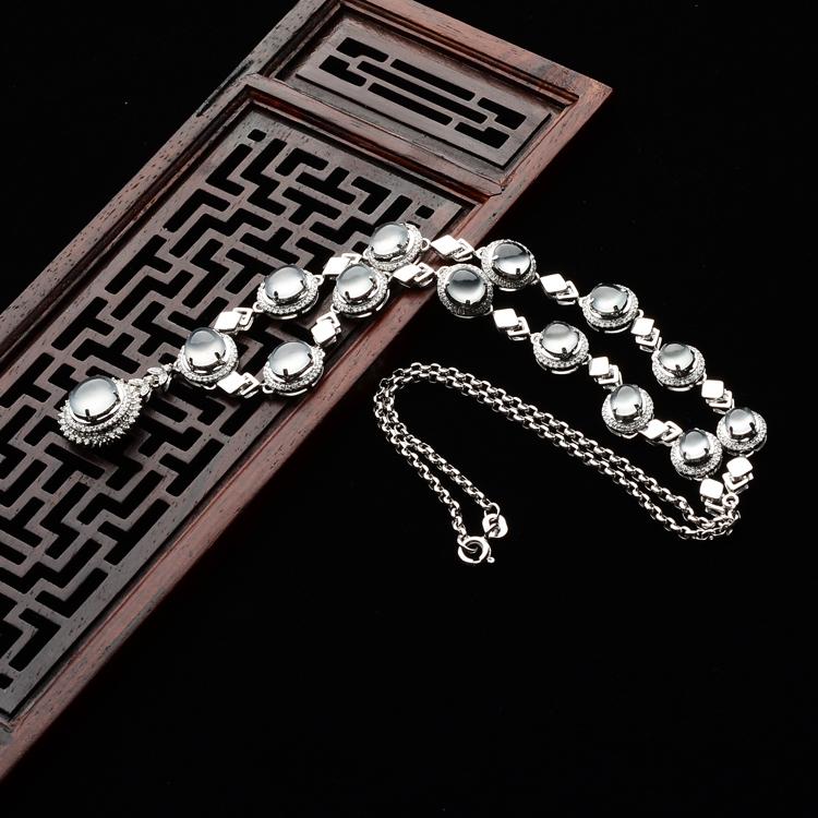 玻璃种无色镶白金钻石星光项链