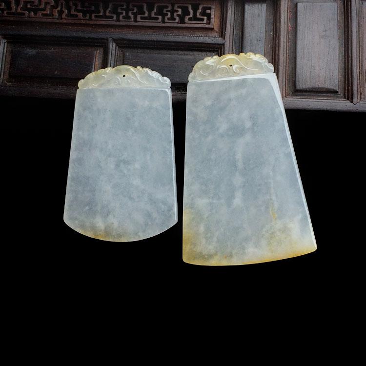 冰种淡黄翡平安无事牌挂件(一对)第1张
