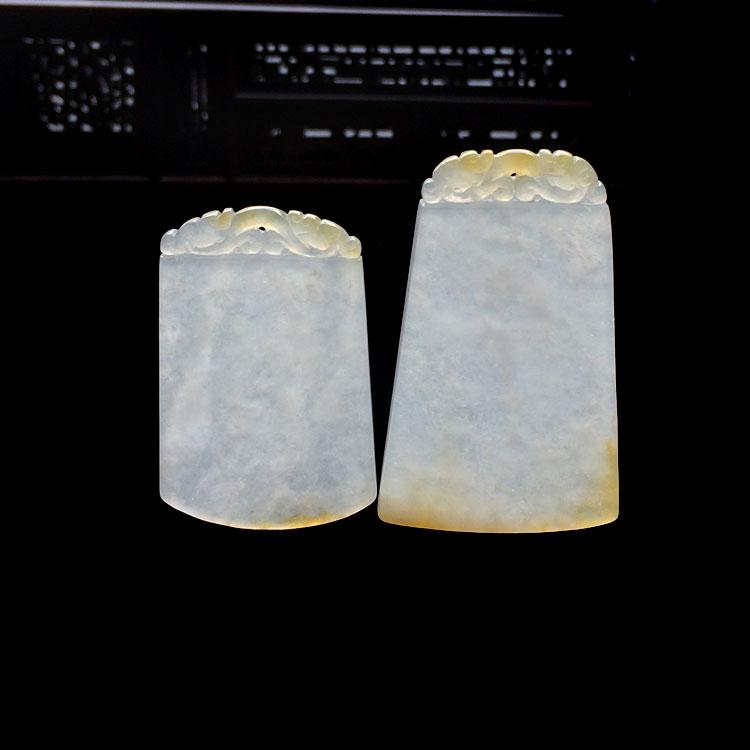冰种淡黄翡平安无事牌挂件(一对)第5张