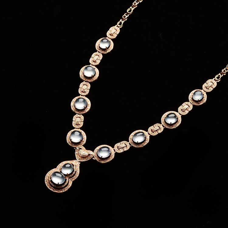 玻璃种无色镶玫瑰金钻石星辰项链