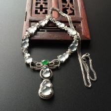 玻璃种/冰玻种/冰种无色/翠色镶白金钻石葫芦项链