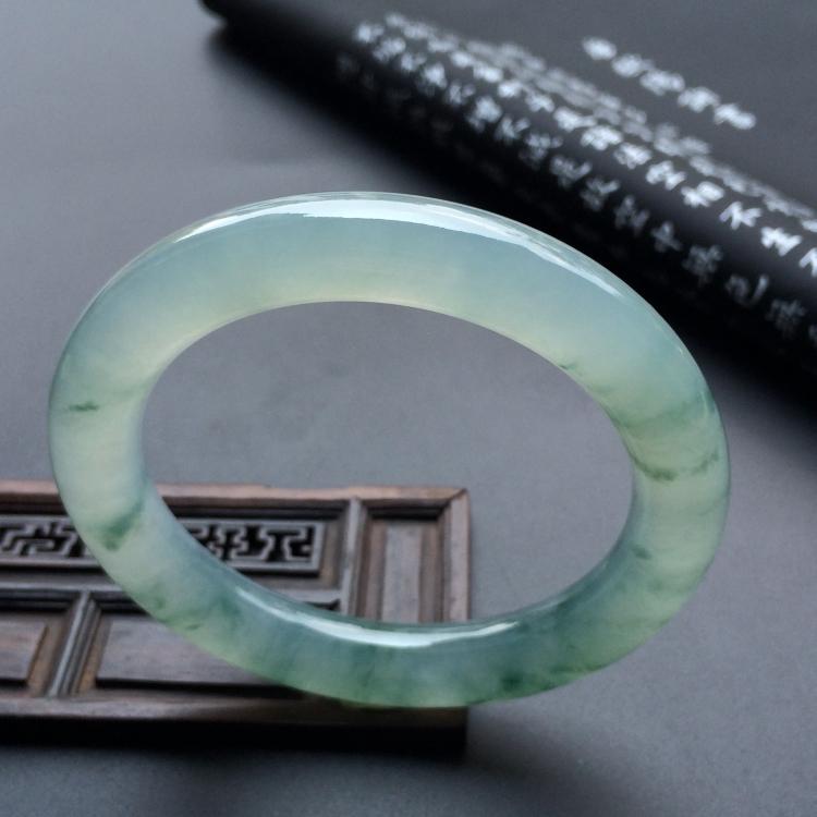 冰种飘花圆条手镯(56mm)第4张