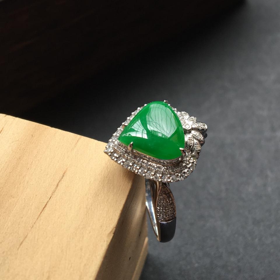 翡翠糯冰种阳绿镶白金钻石心形戒指/吊坠两用