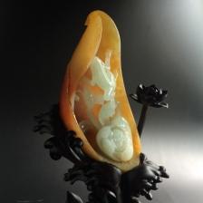 糯冰种红黄翡一品清廉摆件