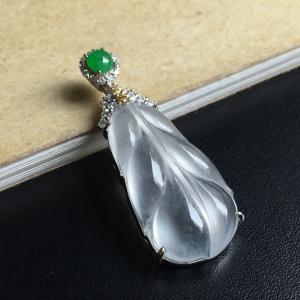 镶白18K金钻石彩宝伴钻冰种树叶吊坠