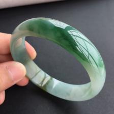 糯冰种黄加绿翡翠手镯(58.9mm)