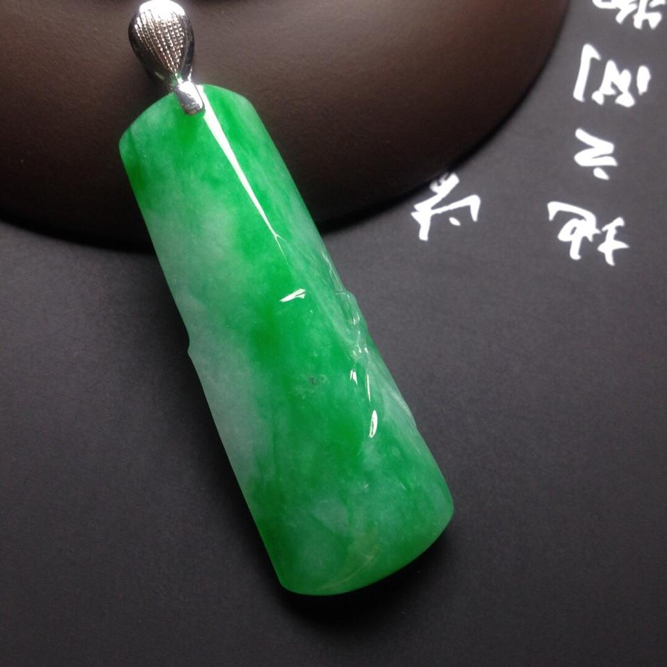糯冰种翠色节节高挂件翡翠