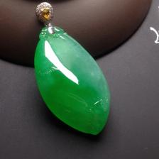 冰种阳绿福瓜挂件翡翠