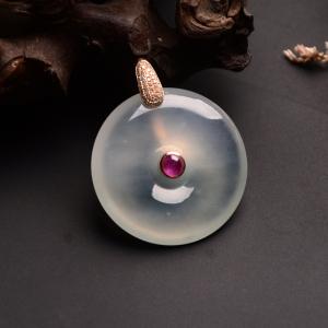 镶玫瑰金钻石冰种淡晴水平安扣胸坠