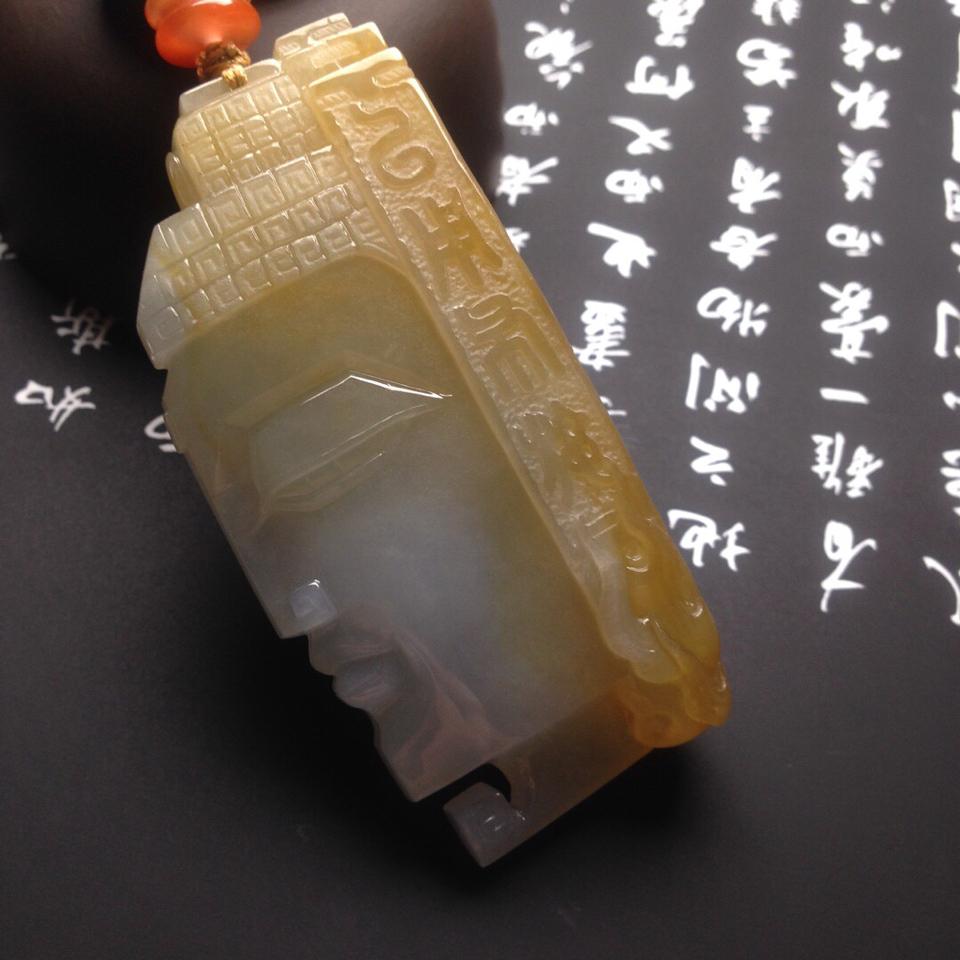 糯冰种黄翡佛头挂件翡翠