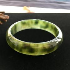 糯冰种油青飘花手镯(58mm)翡翠
