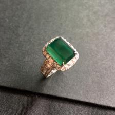 冰种蓝水翡翠18K白金钻石镶嵌戒指
