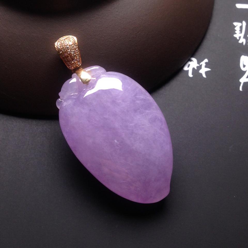 冰种紫罗兰福瓜挂件翡翠