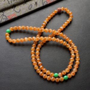 糯冰种黄翡圆珠珠链/108颗佛珠