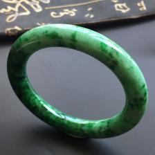 细糯种浓绿翡翠圆条手镯(54.5mm)