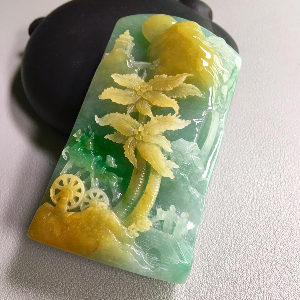 糯冰种黄加绿山水意境牌挂件翡翠