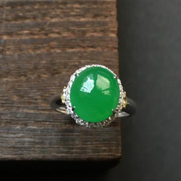 糯冰种阳绿镶白金钻石戒指