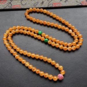 冰种黄翡圆珠项链/108颗佛珠