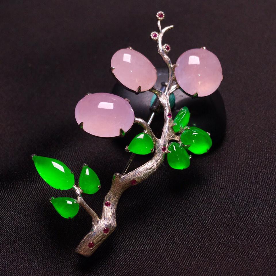 冰种阳绿/淡紫罗兰胸针胸坠两用款翡翠