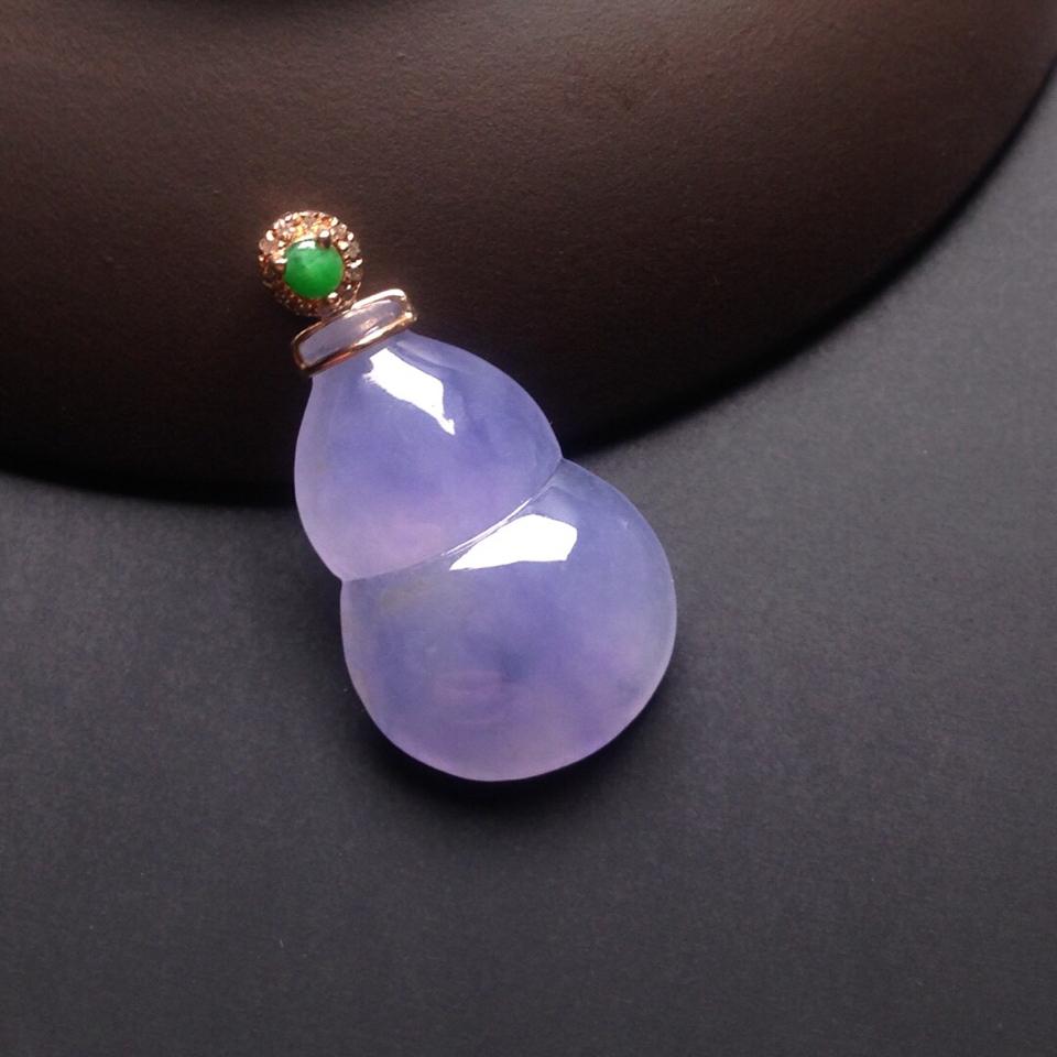 冰种紫罗兰葫芦挂件翡翠