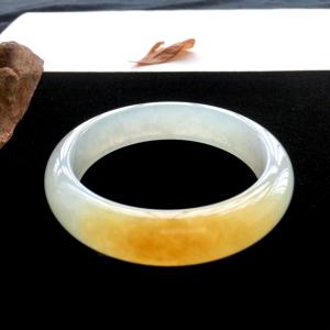 糯冰种黄翡手镯(58mm)翡翠
