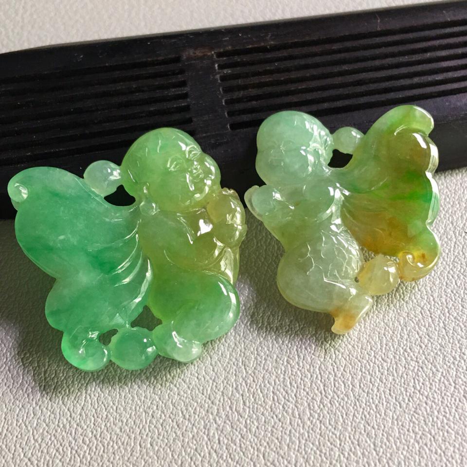 糯冰种黄加绿蝴蝶仙子挂件一对翡翠
