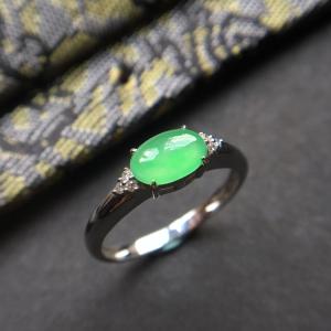翡翠冰种绿晴水镶白金钻石戒指