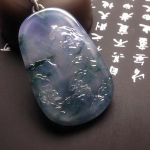 冰种紫罗兰飘花山水牌挂件翡翠