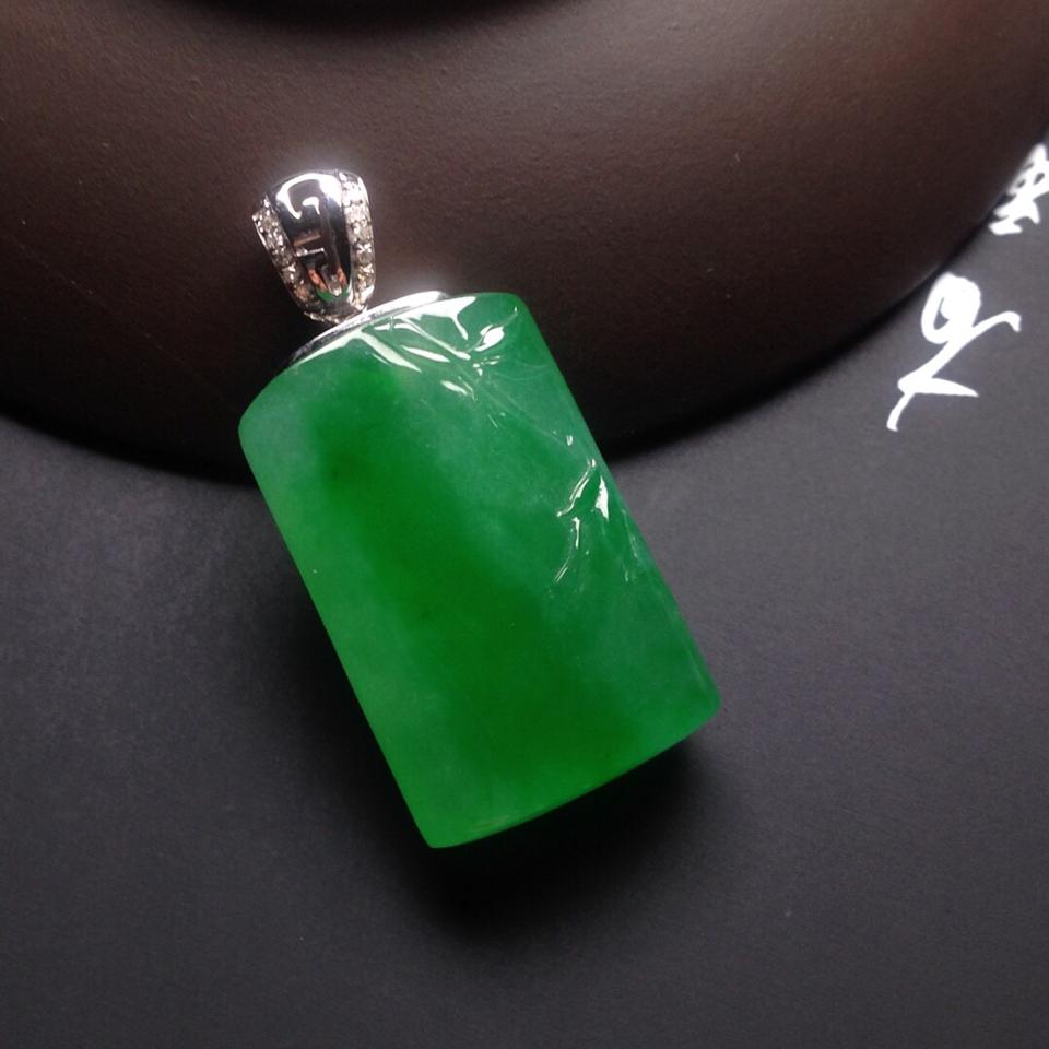 冰种阳绿节节高挂件翡翠