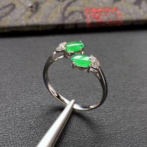 冰种翠色镶白金钻石花型戒指
