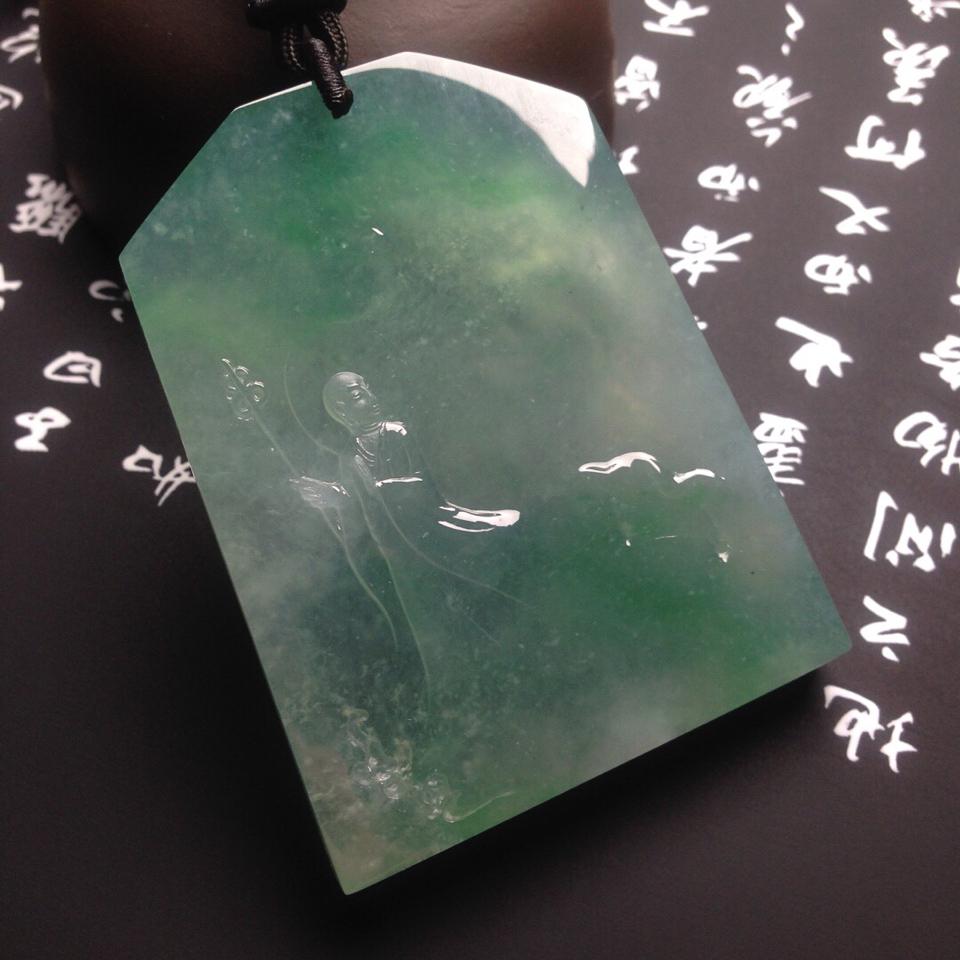 冰种飘绿地藏王挂件翡翠