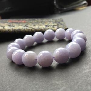 翡翠细糯种紫罗兰圆珠手串