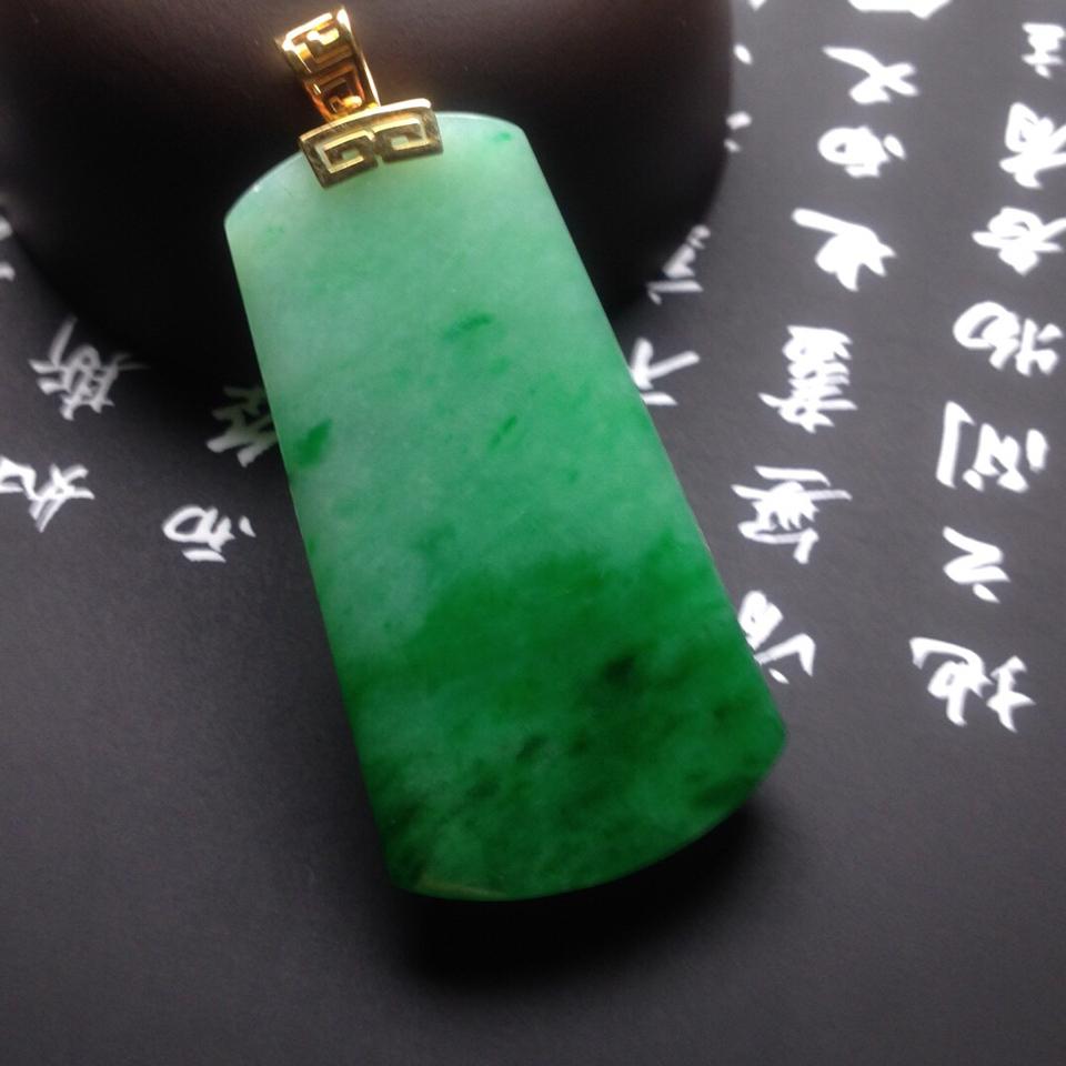 糯冰种满绿无事牌挂件翡翠