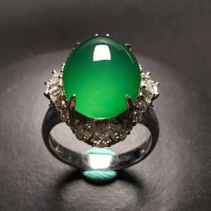 冰种绿晴水镶白金钻石戒指翡翠