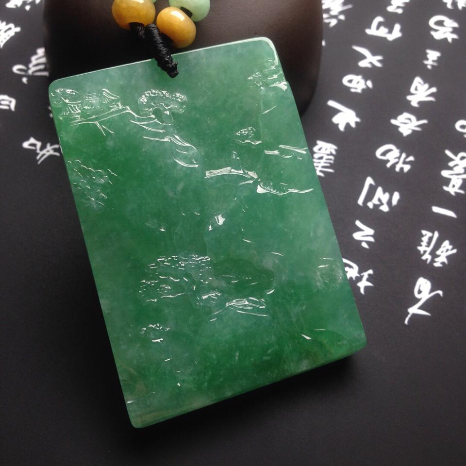 糯冰种满绿大好河山挂件翡翠