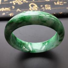 糯冰种浓绿翡翠手镯(57.6mm)