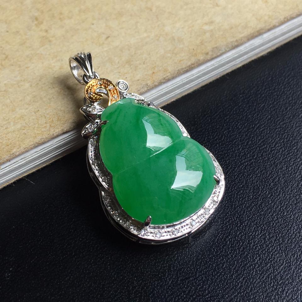 镶黄白18K金钻石细糯种翠绿葫芦胸坠