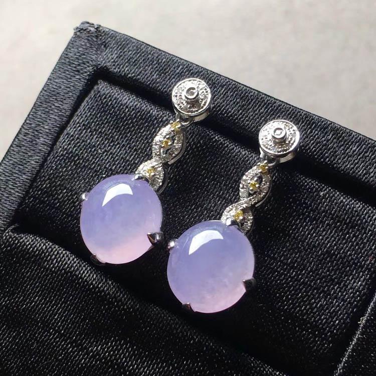 紫罗兰冰种翡翠耳坠(蛋面)