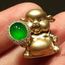【金元宝猪】冰种阳绿翡翠挂件