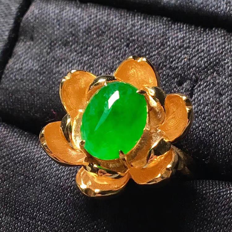金黄花冰种阳绿翡翠戒指