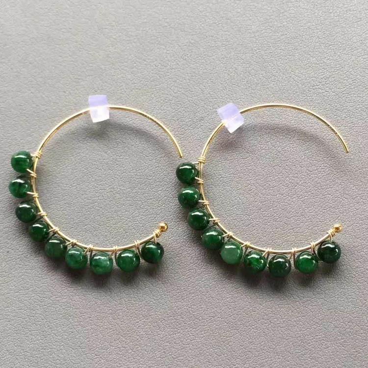 糯种浓绿包金珠子排翡翠耳坠
