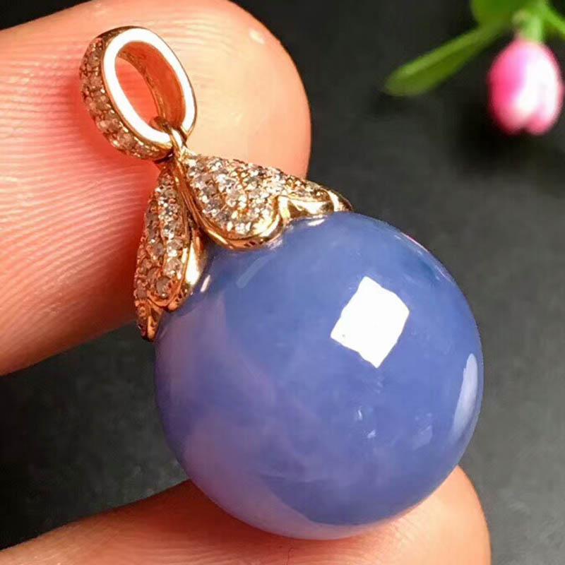 糯种紫罗兰珠子翡翠吊坠