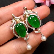 冰种阳绿树叶翡翠耳坠