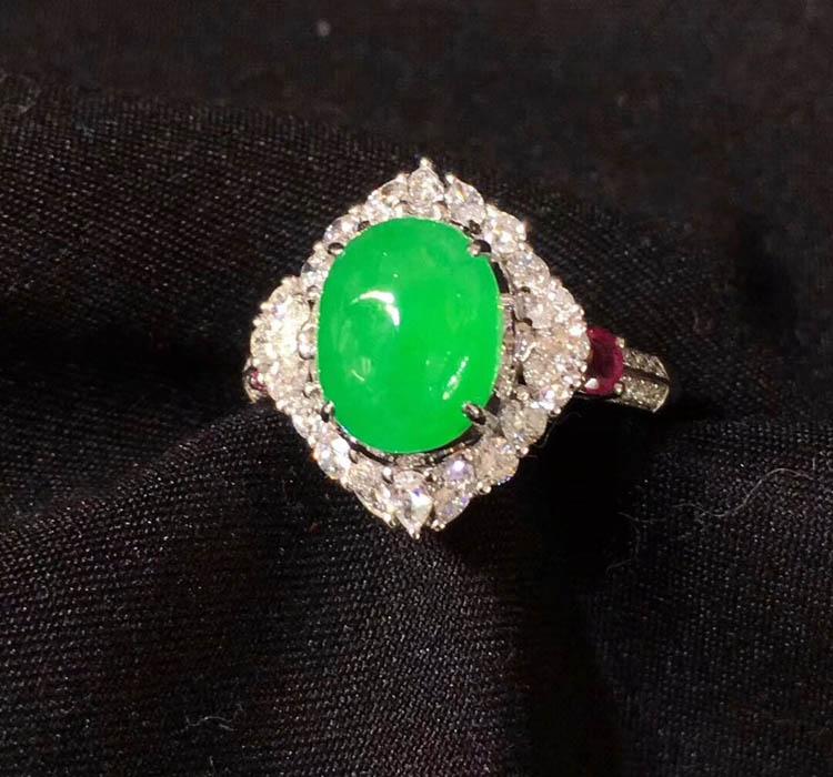 阳绿冰种翡翠戒指(反转镶嵌)