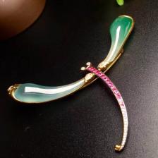 冰种绿镶嵌蜻蜓翡翠胸花